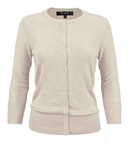 - YEMAK Women's 3/4 Sleeve Crewneck Button Down Knit Cardigan Sweater CO079-OLV-1X Olive