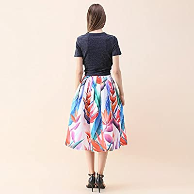 7aa6cab206 Chicwish Women's Floral Strelitzia Flower Printed High Waist A-line Midi  Pleated Skirt