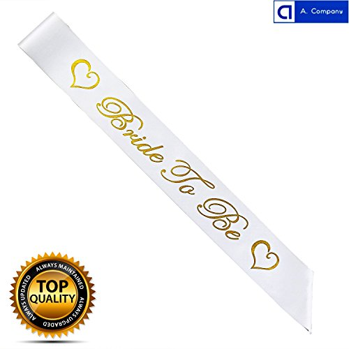 Bride To Be Satin Sash Bridal Wedding Decorative Signs Accessories (BRIGHT GOLD LETTERS & SUPER FABRIC)Bachelorette Party Favors - Bridal Shower Supplies - Wedding Shower Decorations (Gold Decorative Accessories)