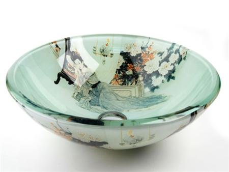 Sink Glass Vessel Fontaine (Fontaine Geisha Glass Vessel Bathroom Sink - FSA-VS-PSZ002D)