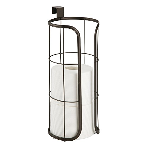 Holder Toilet Hanging Tissue (mDesign Modern Over The Tank Hanging Toilet Tissue Paper Roll Holder and Reserve for Bathroom Storage - Stores 3 Extra Rolls, Holds Jumbo-Sized Rolls - Durable Metal Wire - Bronze)