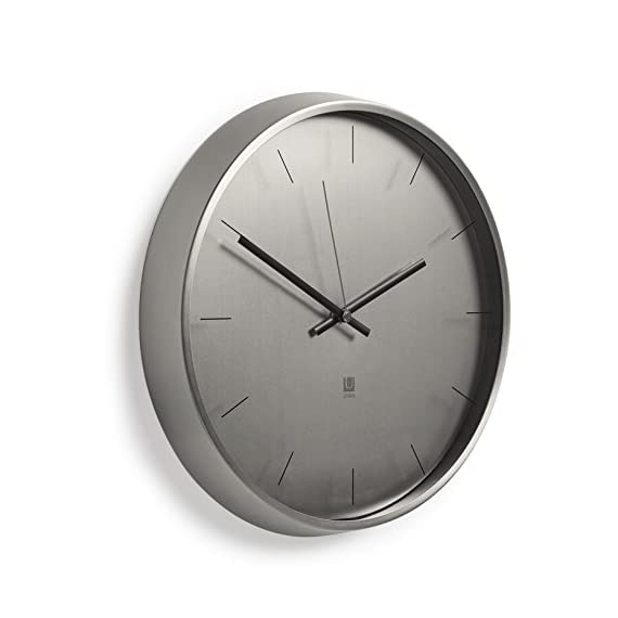"""Umbra Meta Wall Clock, Nickel Quiet, Non Ticking and Silent, Easy to Read Indoor Round Wall Clocks With Solid Metal Frame - Measures 12 ½'' by 1 ½""""- Great for Home, Office, Kitchen, Bedroom - MODERN AND SLEEK: With its soft lines, smoothed edges, and polished nickel finish, Meta can add an air of sophistication and elegance to any room ALL UMBRA CLOCKS ARE TESTED IN-HOUSE: Inside our factories is a wall where every single one of our clocks is tested to make sure it ticks just right. Meta comes with mounting hardware and has silent sweeping quartz clock mechanisms. CLASSIC CLOCK SIZE: Measuring 12.5 x 1.5 inches, Meta can act as a standalone piece or accompany a broader series of wall décor - wall-clocks, living-room-decor, living-room - 41L1RViePhL. SS570  -"""