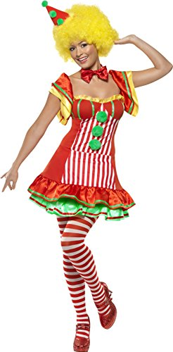 Smiffy's Women's Boo Boo The Clown with Dress and Hat On Headband, Multi, Large (Lady Clown Costume)