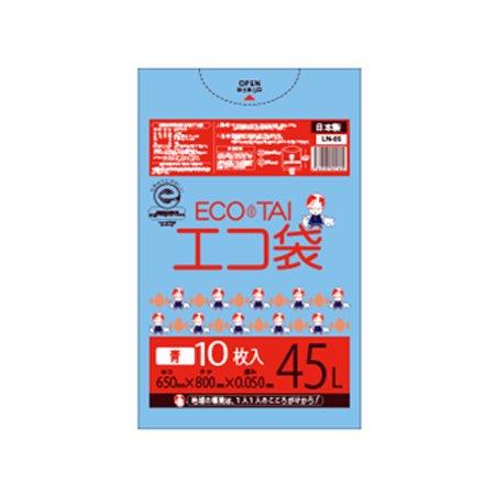 サンキョウプラテック エコ袋 45L 0.050厚 青 10枚入×40冊 LN-66 B077SHCB49 厚さ0.045mm|ブルー ブルー 厚さ0.045mm