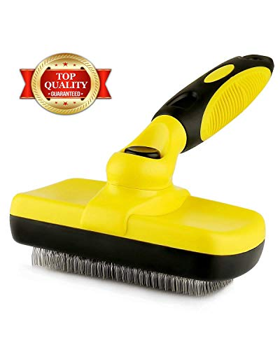 Professional Self Cleaning Slicker Brush for Pets (Dogs, Cats, Others), Rugs, and Others - Ergonomic Soft Grip Handle - Reduces Shedding and Eliminate Mats, Tangles and Hairballs - Brush by Prime Pet