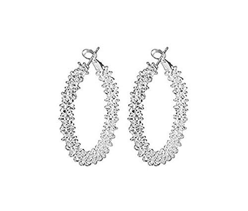 Windoson Simple Ladies Studs Circle Earrings Silver Color (Silver) ()