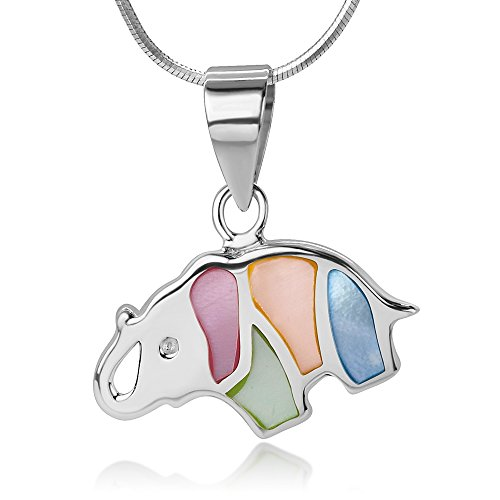 "Sterling Silver Little Elephant Multi-Colored Mother of Pearl Shell Inlaid Pendant Necklace, 18"" (Mammoth Ivory Jewellery)"