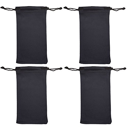 Microfiber Eyeglass Pouch -4 Pack- Glasses Holder Sunglasses case For Storage & Cleaning - Can be Used for Jewelry & Smartphones -Black- By OptiPlix