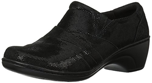 Womens Kim Slip Ons (CLARKS Women's Channing Kim Slip-on Loafer, Black Lizard, 6.5 M US)
