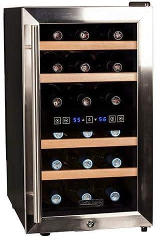 Koldfront TWR187ESS 18 Wolnostojąca dwustrefowa chłodziarka do wina w butelkach