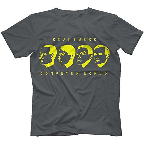 Bees Knees Tees Computer World T-Shirt 100% Cotton Kraftwerk Inspired Autobahn The Model[Charcoal,XXL]