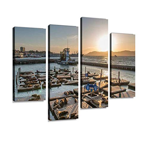 Sea Lions at Pier 39 in San Francisco Canvas Wall Art Hanging Paintings Modern Artwork Abstract Picture Prints Home Decoration Gift Unique Designed Framed 4 Panel
