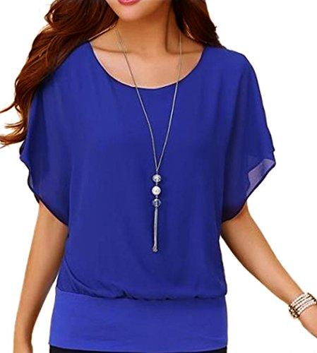 Viishow Women's Loose Casual Short Sleeve Chiffon Top T-Shirt Blouse (L, Blue)