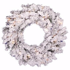 Alaskan Pine Wreath Clear Lights - Vickerman Pre-Lit Flocked Alaskan Pine Wreath with 50 Clear Dura-Lit Lights, 24-Inch, Flocked White on Green