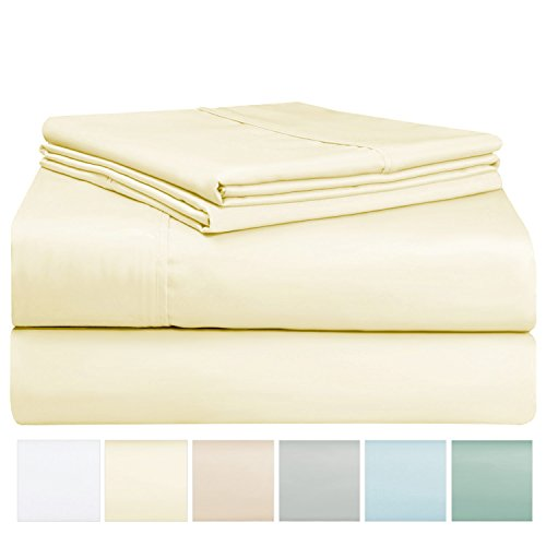 400 Thread Count Sheet Set, 100% Long Staple Cotton Cream Queen Sheets, Sateen Weave Bed Sheets fit upto 17 inch Deep Pockets, 4Pc Set by Pizuna Linens (Ivory Queen 100% Cotton Sheet Set)
