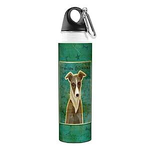 Tree-Free Greetings VB48076 John W. Golden Artful Traveler Stainless Steel Water Bottle, 18-Ounce, White and Grey Italian Greyhound