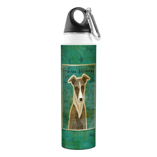 Tree-Free Greetings VB48076 John W. Golden Artful Traveler Stainless Steel Water Bottle, 18-Ounce, White and Grey Italian Greyhound