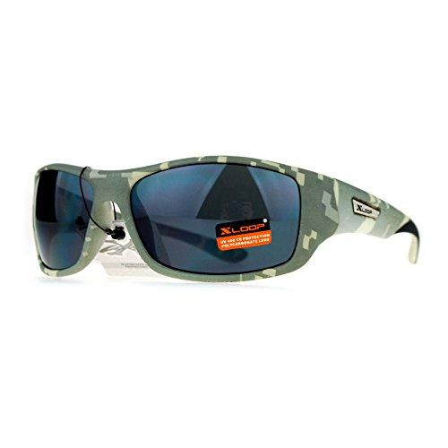 Xloop Army Digital Camouflage Warp Plastic Biker Style Sunglasses Grey - Sunglasses Digital