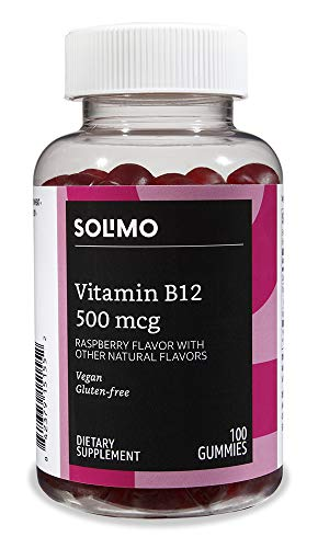 - Amazon Brand - Solimo Vitamin B12, 500 mcg, 100 Gummies (2 Gummies per Serving)