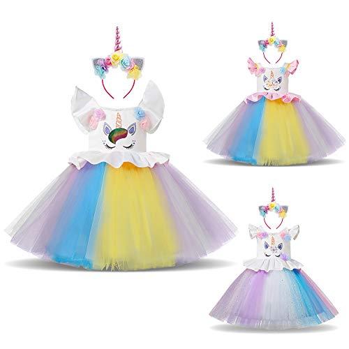 Unicorn Princess Costume Halloween Flower Applique Rainbow Tutu Dress Fancy Dress Up Birthday Party Pageant Cosplay