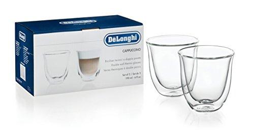 De'Longhi Juego de 2 vasos premium para cappuccino, apto para lavavajillas, pared doble vidrio templado, transparente, 190 ml