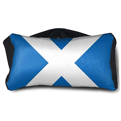 ROCKSKY 2 in 1 Travel Neck Pillow & Eye Mask Travel Eye Mask Pillow Comfortable Scottish Flag Eye Mask Pillow Eyeshade for Sleeping Plane Work Meditation Relaxation -