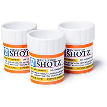 BigMouth Inc Prescription Pill Bottle Shaped Shot Glass Set, 3-Pack, Perfect Funny Gag Gift