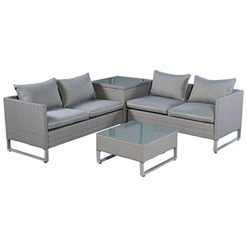 Furniture Gray Patio (TANGKULA 4 Piece Patio Furniture Set Outdoor Garden Lawn Wicker Rattan Cushioned Love Seat with Storage Conversation Set (Grey))