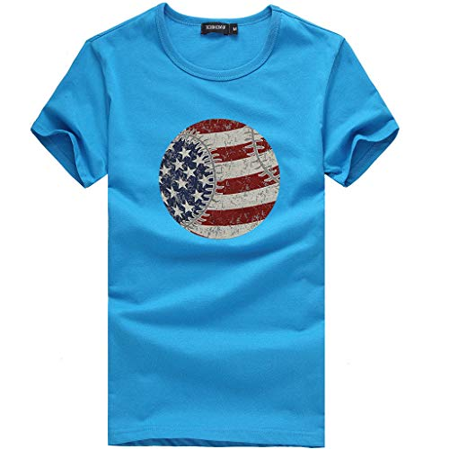 (DEATU Sale Womens American Flag Printed T-Shirt Tops Loose Short-Sleeved Blouse Tees Ladies Clothing July 4th Patriotic(B-Sky Blue,US-2/Asian-S))