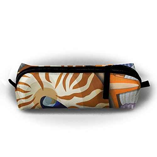 Chambered Nautilus And Clam Paintings Children Girls Zipper Pen Bag Cosmetic Bags Unisex Cylindrical Purse
