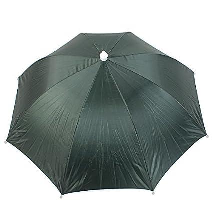 eDealMax deportes al aire Libre Campo de Pesca Doblado paraguas Sombrero Headwear Ejército Verde