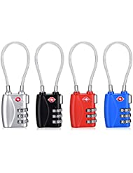 TSA Approved Travel Luggage Locks, 3-Digit Combination Security Cable Padlock