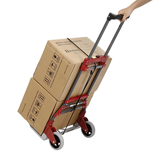 [US Stock] Pesters Folding Hand Cart Portable Labor-Saving Shopping Dolly Cart for Personal, Auto, Moving and Office Use ()