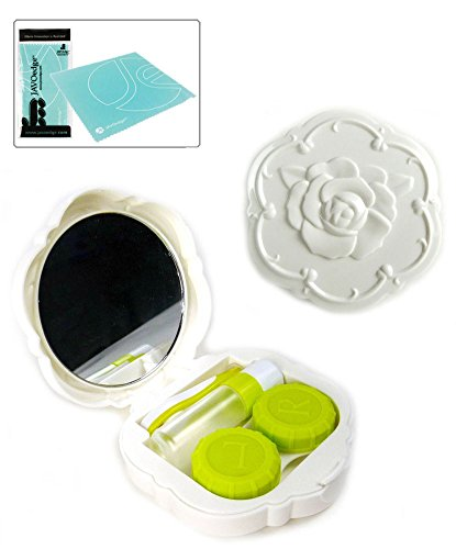 Rose Contact Lens Kit Voyage (Blanc), Bonus tissu de nettoyage objectif microfibre Free Soft