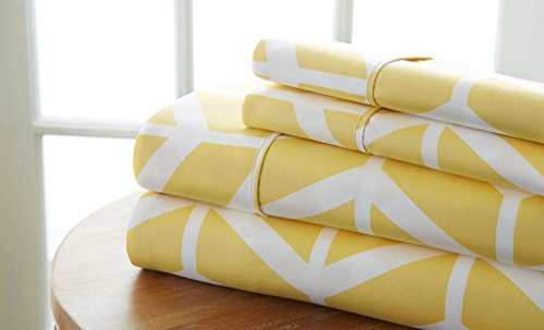 Becky Cameron 4 Piece Sheet Set Arrow Patterned, Full, Yellow (Sheets Patterned Full)
