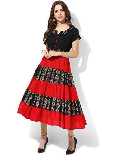 DreamAngel Black & Red Bandhani Print Anarkali Kurta - And Women India