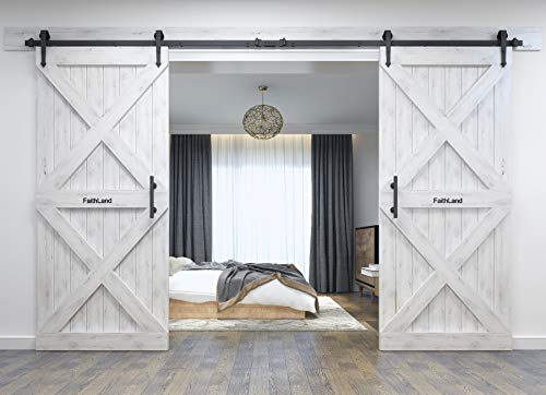 FaithLand 12FT Double Sliding Barn Door Hardware Track Kit for Wood Door Closet - 12 Foot Rail Kit Double Door - Heavy Duty - Ultra Smooth Quiet - Seamless Rail connector - Tested Beyond 120,000 Rolls by FaithLand (Image #7)