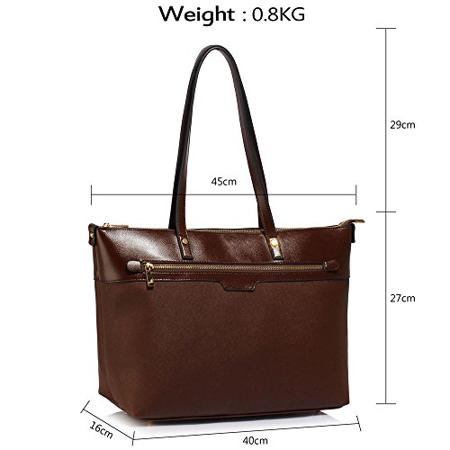 Bags Ladies Womens Design Leather Office Laptop Large Shoulder Extra Faux Tote 1 Handbags Coffee rSSxRIwq1