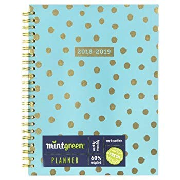 Weekly Planner July 2018 - June 2019 Weekly Monthly Planner, Spiral, Hardcover,Size 5 X 8.by Clementine paper inc (Green) …