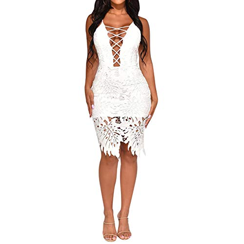 Womens Lace Bodycon Dress - Spaghetti Strap V Neck Hollow Out Lace Up Mini Skirt Party Club Night White-2 L