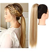 Blonde Ponytail Extension Straight Clip in on Wrap Around Drawstring Ponytail Long 24 Inch Synthe...
