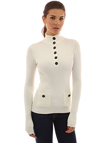 (PattyBoutik Women's V Neck Button Ribbed Sweater (Off-White)