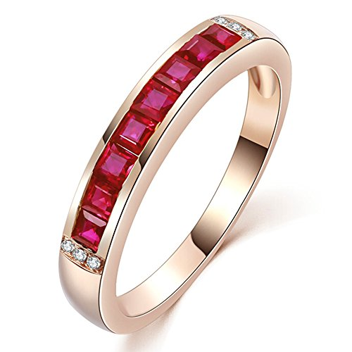 (Unique Fashion Genuine Ruby Gemstone Solid 14K Rose Gold Diamond Engagement Wedding Engagement Ring Set for Women)