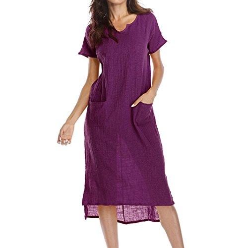 La mujer vestido,Sonnena ❤️ ❤️ ❤️ Bohemian blanco impresión hueca de encaje vestido Suelto suave vestido de manga corta para sexy mujer casual ropa al aire libre de Verano Purpura