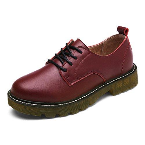 HWF Chaussures femme Printemps britannique Style Martin femmes chaussures College chaussures en cuir plat Casual étudiant chaussures simples femmes ( Couleur : Vin rouge , taille : 36 ) Vin Rouge