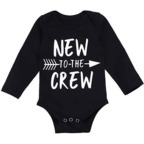 Newborn Baby Boy Clothes Romper New to The Crew Funny Printed Onesies Bodysuit Outfits 0-3 M (Funny Newborn Outfits)