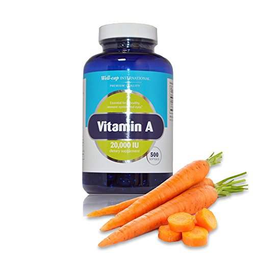 Well Cap Sugar Free Vitamin A | 20,000 IU | 500 softgels | Easy to Swallow as Beta Carotene and Fish Liver Oil | Essential for a healthy immune system and eyes