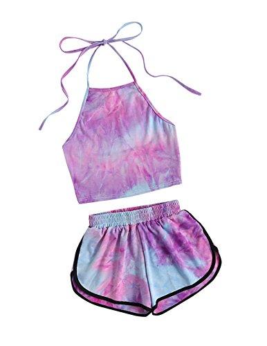 SweatyRocks Women's 2 Piece Set Halter Crop Top and Shorts Set Tie Dye L