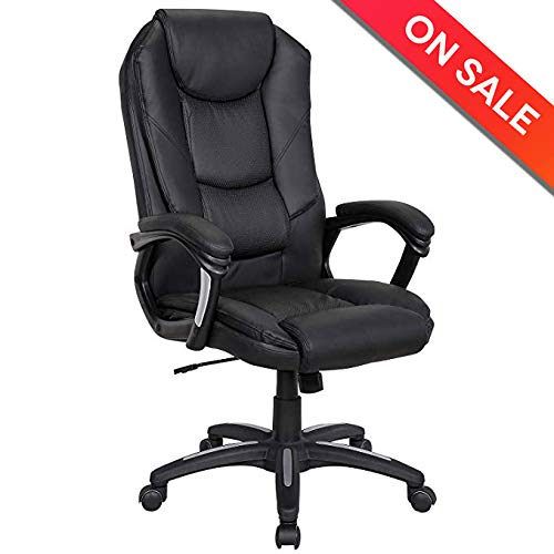 LCH High Back Leather Office Chair 300 LBs with Curved Arms Foam Seating Back Support Tilt Function Ajustable Height Padding Headrest Lumbar Support - Leather Black Task Computer