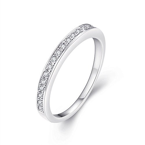 [Eternity Love Women's Halo Ring White Gold Plated Princess Cut CZ Crystal Engagement Rings Best Promise Rings Anniversary Wedding Bands for Lady Girl,] (Homemade Wolf Costumes For Kids)